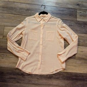 Loft light pink button up long sleeve